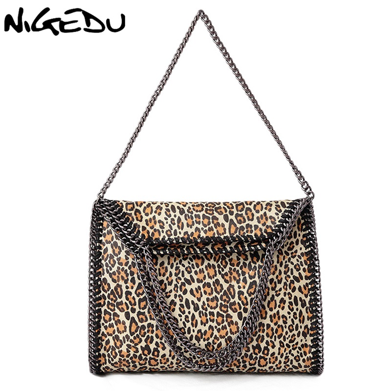 NIGEDU brand Fashion leopard leather Women handbags Large Weave Chain Women's Shoulder Bags PU Leather female big Totes Bolsa