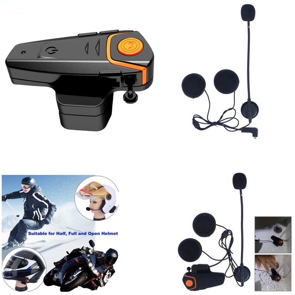 цена на 2017 New 1000M BT-S2 FM Motorcycle Intercom A2DP BT Bluetooth Wireless Waterproof Interphone Helmet Headset Earphone
