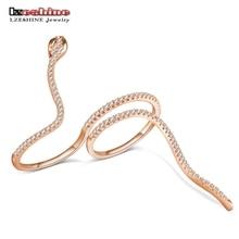 LZESHINE Fashion Punk Snake Finger Ring For Women With Green Eye Tiny CZ Inlayed Bague Round Party Jewelry Anel Feminino CRI0440