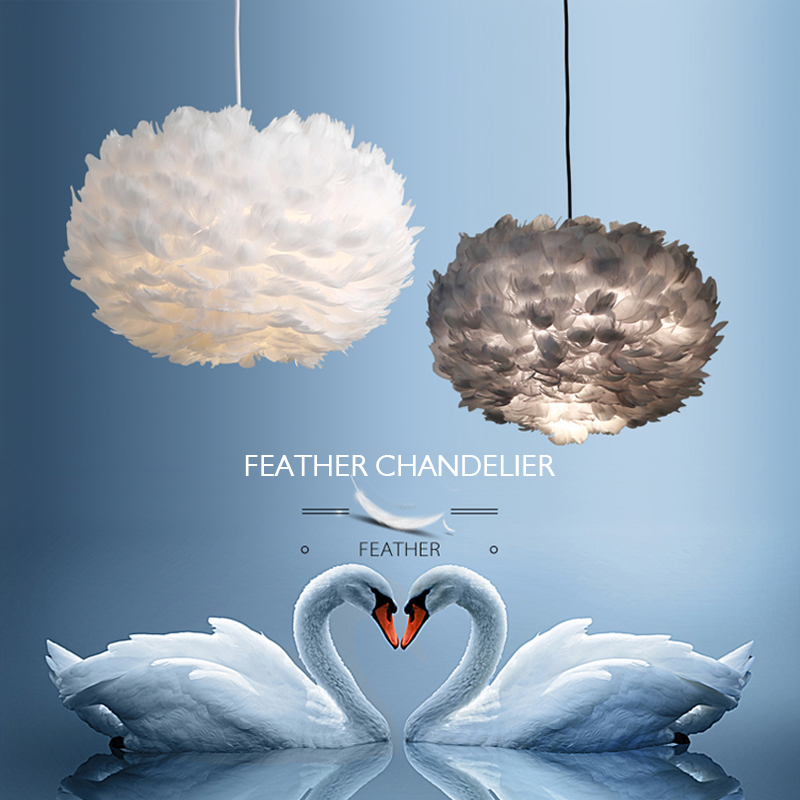 Feather Pendant Lights Droplights Kids Room Hanging Light Crystal Bedroom Suspension Wedding Lighting Fixture For Bedroom