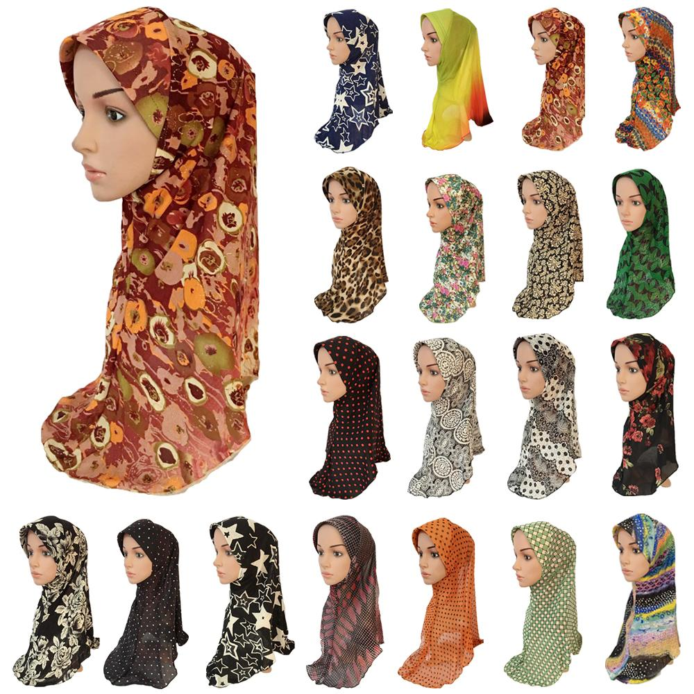 Flower Print Hijab Amira Muslim Women Head Cover Neck Hat Scarf Shawls Islamic Turban Bandanas Hair Loss Cap Headscarf Headwear