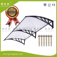 YP100300 150x300cm Door Canopy Canopies Awnings Polycarbonate Awning Depth 150cm Width 300cm Clear Sheet Black Brack