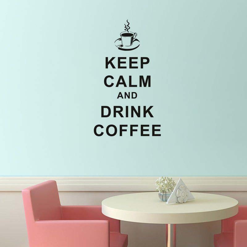 Pvc removable keep calm and drink coffee english word home decoration cucina vinyl wall sticker - Wall stickers cucina ...