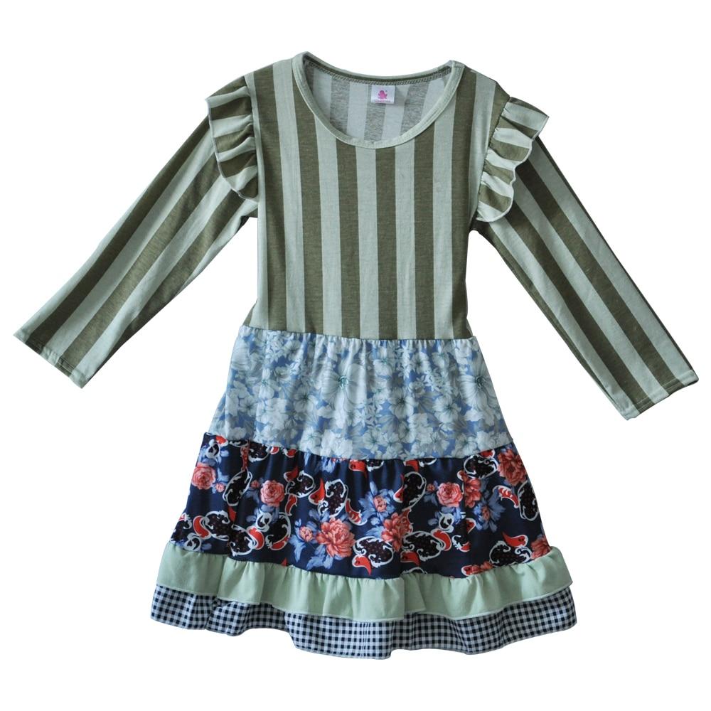 こうるさいリメイク女の子フリルドレスフルスリーブストライプ秋冬ベルト服childre綿子供ブティックドレスcx010