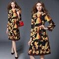 Впп платья 2017 новая весна женщин с длинными рукавами долго dress модные круглым воротом цветочный печати vestidos женская одежда