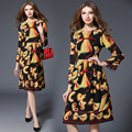 Vestidos de pista 2017 nova primavera das mulheres long-sleeved longo dress moda gola redonda floral impressão vestidos das mulheres de roupas
