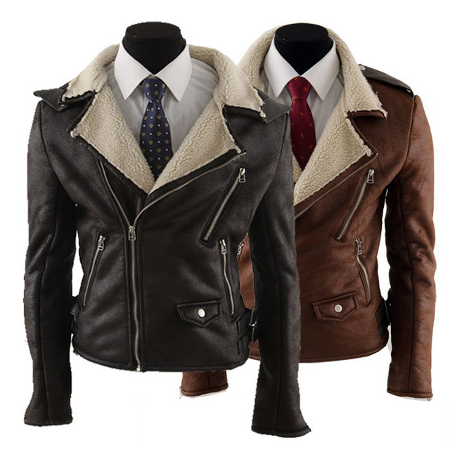 New Arrival  Men  Leather Jacket Long Sleeve Turn-down Collar Slim Fit  Leather Jacket Men male outerwear White Leather & Suede
