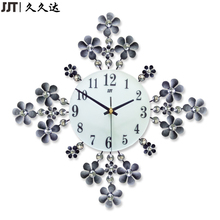 Metal Art Craft Flower Wall Clock Modern Design 3D Black Clocks For Home Decoration Free Shipping