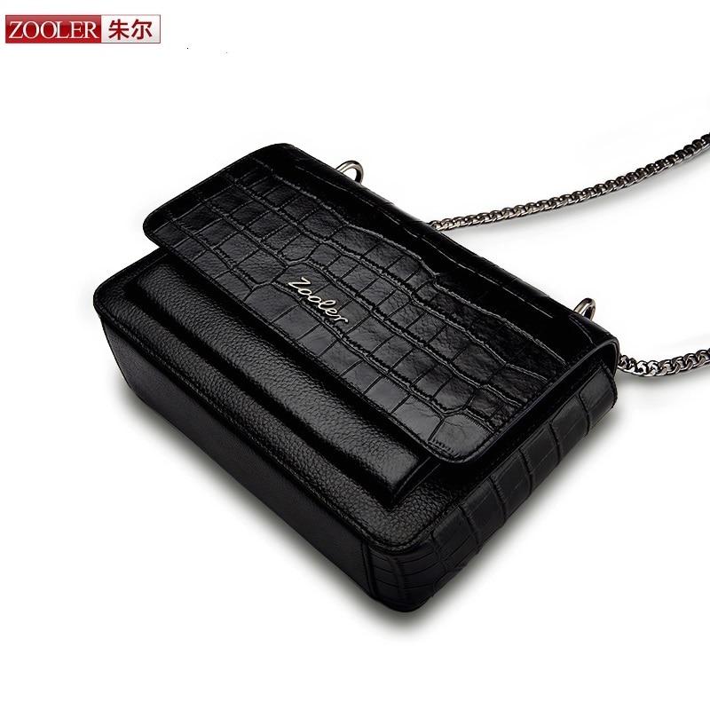 ZOOLER genuine leather bag shoulder bag chain cross body alligator pattern women messenger bag lady bolsa feminina #B136 lipstick chain cross body bag