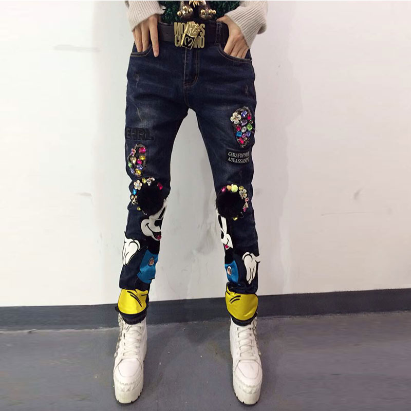 ФОТО European Grand Prix 2015 Spring Models Wear Cat Claw Patchwork Jeans Women Diamond Denim Pants Embroidery