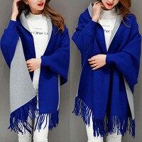 2017 komfortable Oversize Doppelseite Schal Winter Luxus Cashmere Frauen Feste Designer Weiblichen Langen Ärmeln Wrap Vintage Schal
