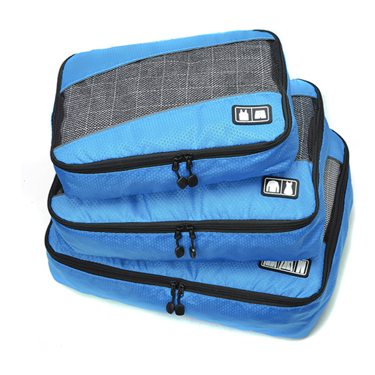 2018 3pcs/set Fashion Men and Women Luggage Travel Bags Packing Double Zipper Organizer Waterproof PolyesterCubes Wholesale