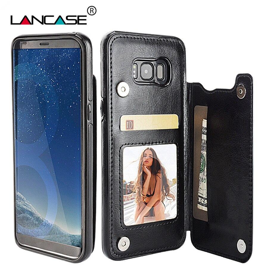 LANCASE pouzdro na peněženku pro pouzdro Samsung S8, kožené pouzdro na kartu, zadní kryt a zpětné pouzdro pro Samsung Galaxy S8 Plus, pouzdro magnetické motyky