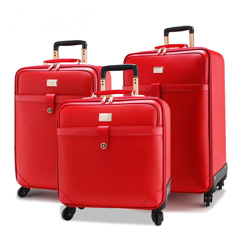 Married the box trolley luggage universal wheels travel bag female red suitcase box bride,high quality retro pvc red married bag