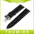 Pulseira de couro genuíno fivela de implantação para asus zenwatch 1 2 22mm lg g watch w100 w110 w150 urbano correia de substituição pulseira
