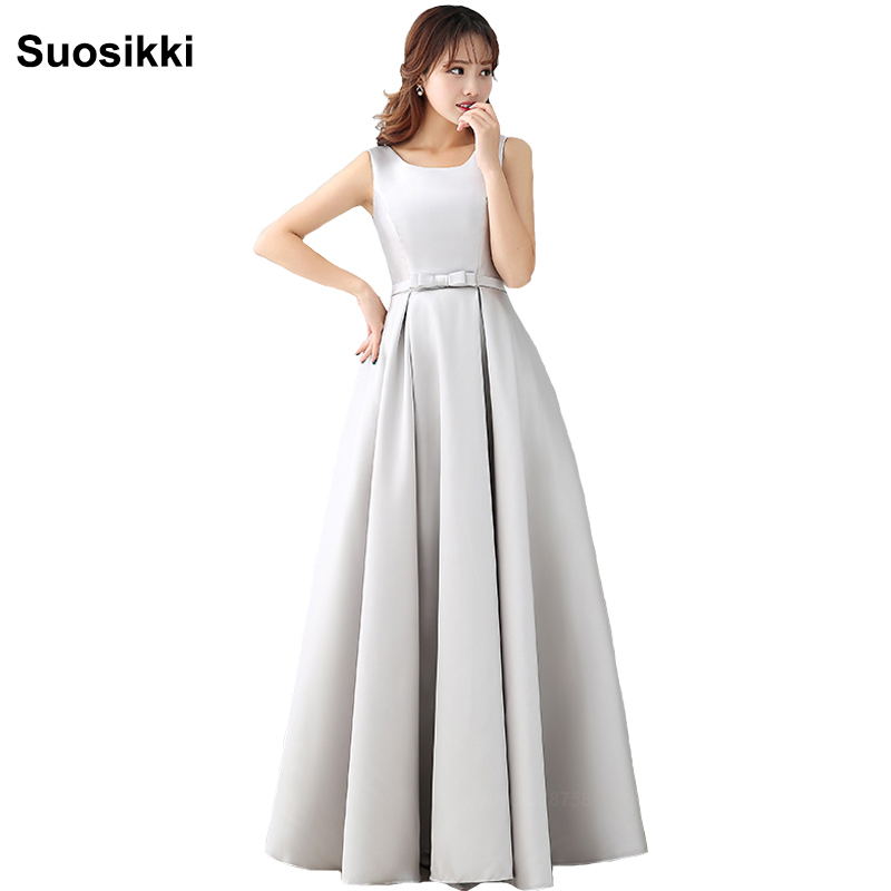 Suosikki New 2018   Bridesmaid     Dresses   long voile mariage o-neck formal wedding party gown plus size free shipping