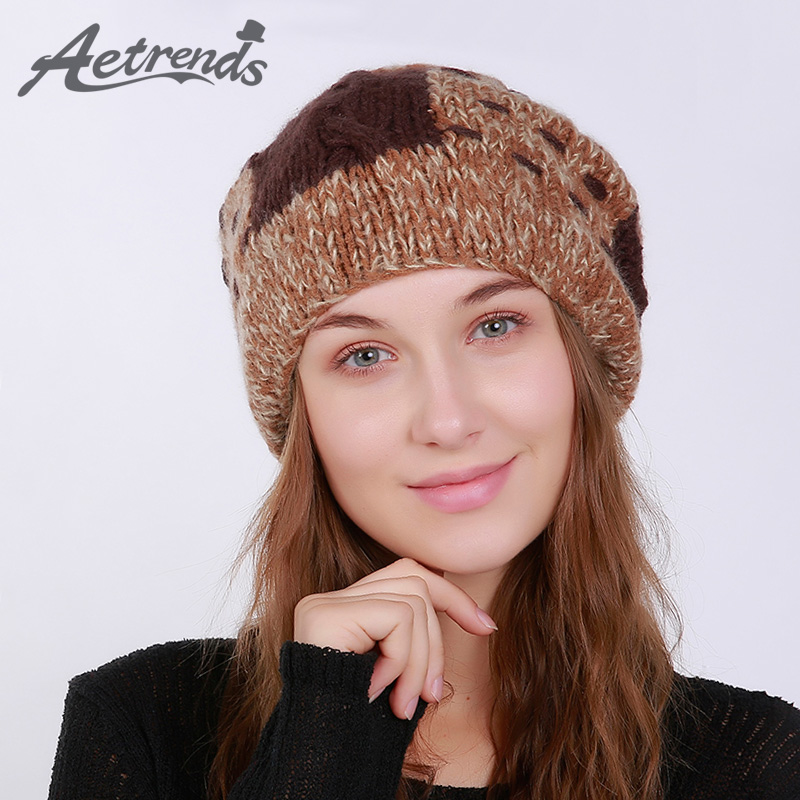 [AETRENDS] 2017 Winter Rabbit Fur Beanie Hats for Women Warm Knitted Female Caps Beanies Pompom with Top Ball Z-5986 adult beanie skullies rabbit fur ball shining warm knitted hat autumn winter hats for women