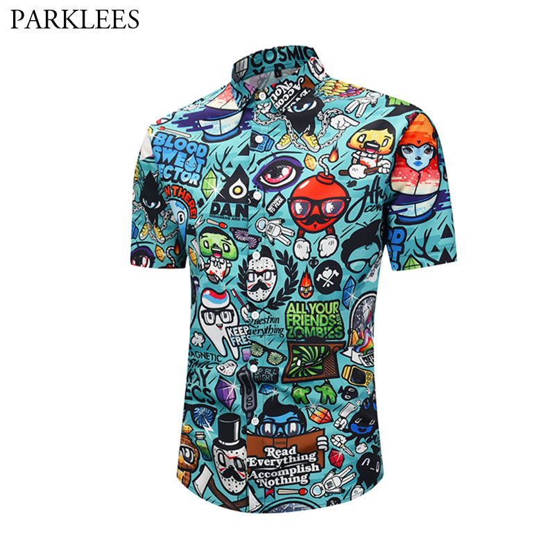 3D Cartoon Print Hawaiian Shirt 2019 Summer New Short Sleeve Shirt Men Hip Hop Hipster Casual Shirts Male Camisa Masculina XXL