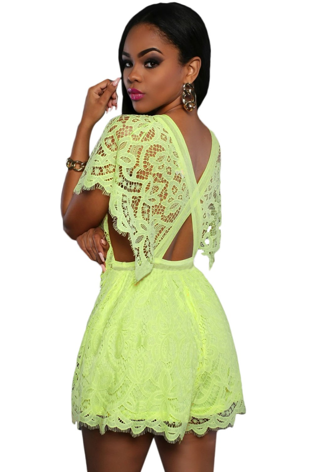 Fluorescent-green-Lace-Sheer-Top-Romper-LC64004-7-2