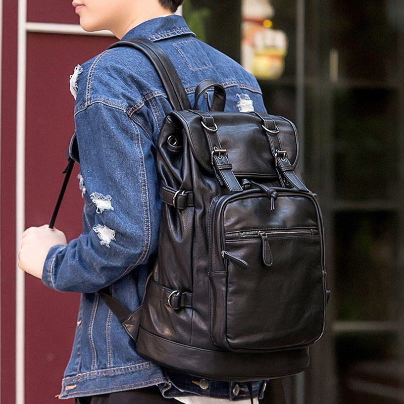 2017 Men High Quality Leather Backpack Large Capacity Bags Vintage School Bag For Teenagers Brand Designer Casual Mochila Hombre