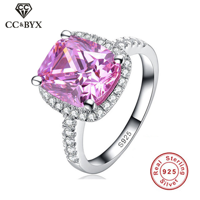 CC 100% Sterling Silver Charms 925 Rings For Women Fashion Midi Pink CZ Engagement Ring Bridal Wedding Jewelry Anel Bijoux Femme