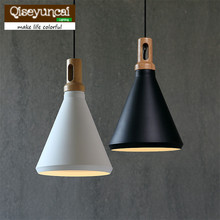 Qiseyuncai Retro Loft industrial wind iron single head solid wood aluminum chandelier personalized living room lighting