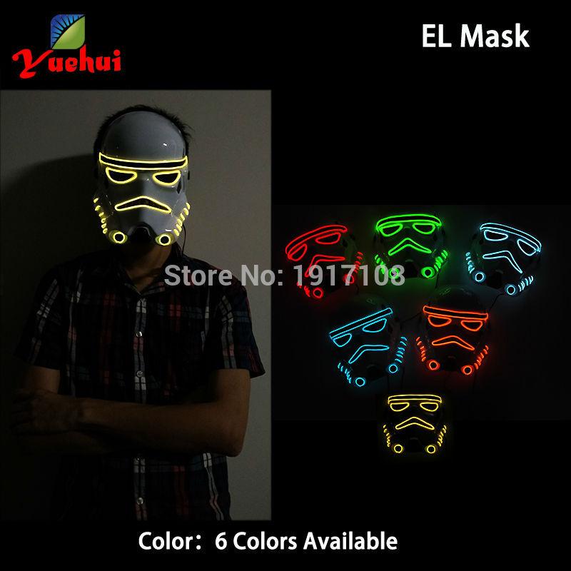 10 Color NEW Arrive EL wire Flashing Star Wars mask Neon Glowing Party Decor LED mask Halloween mask for Christmas,Night CLub