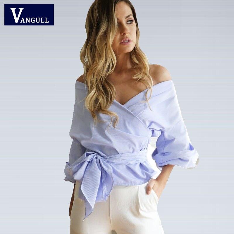 Atractivo Sin Tirantes Con Cuello En V correa cruzada camisa corta tops 2017 blu