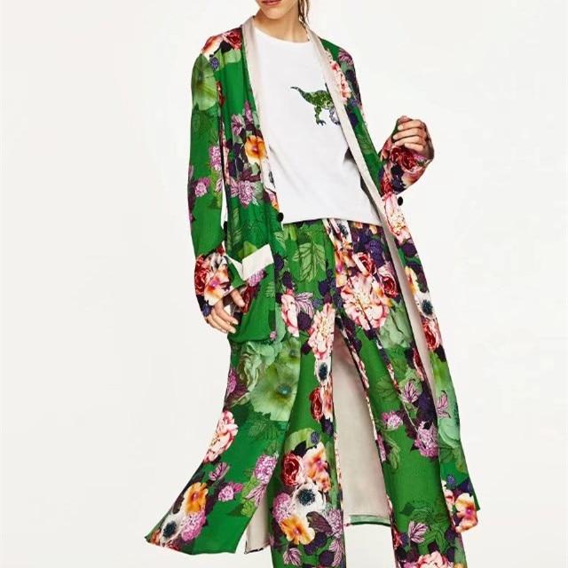 Mujeres Impreso Floral de la Rebeca Larga Tops Y Blusas Moda Mujer Larga Kimonos