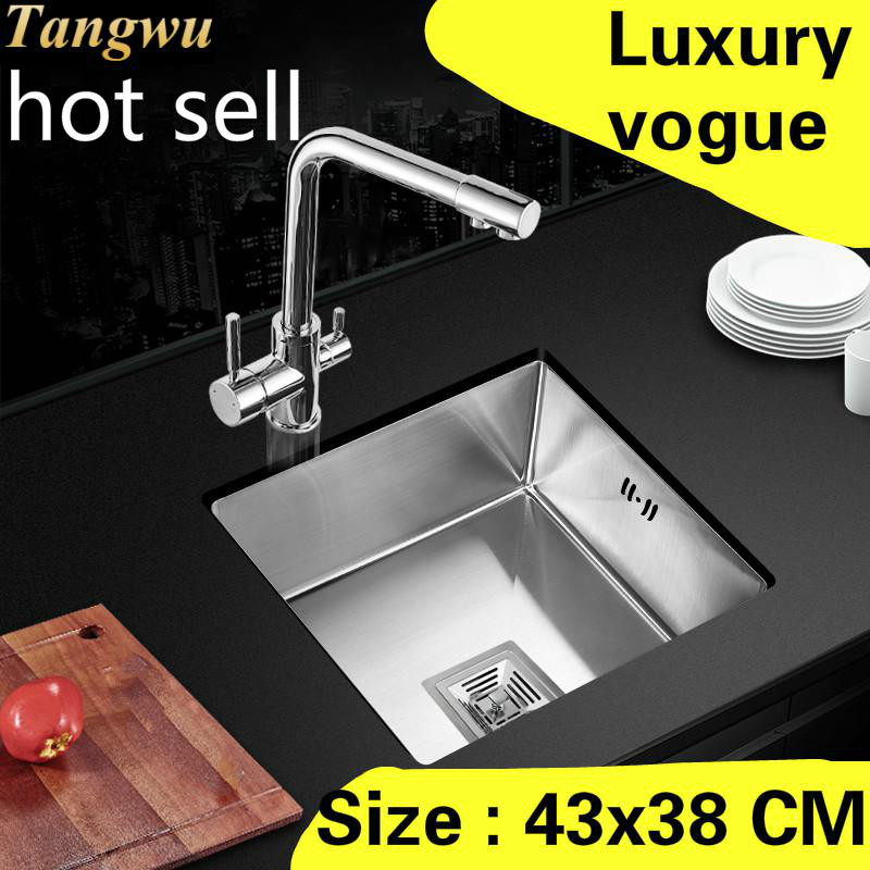 Free Shipping Apartment Luxury Kitchen Manual Sink Single Trough High Quality 304 Stainless Steel Vogue Hot Sell 43x38 CM
