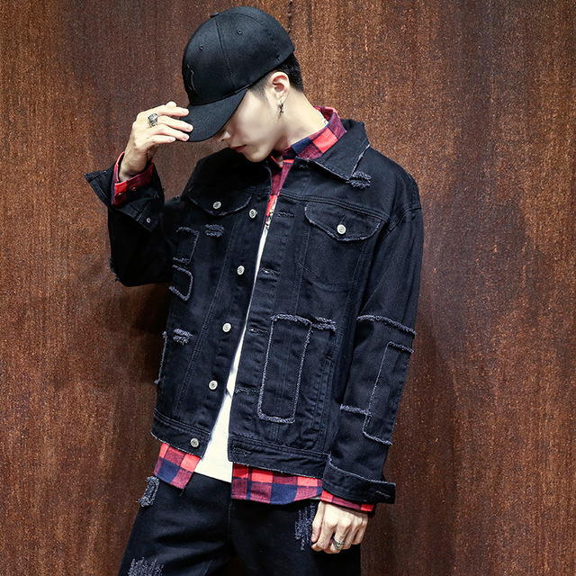 Male Oversized Denim Jacket Men Japan Style Plus Size 4xl 5xl Mens