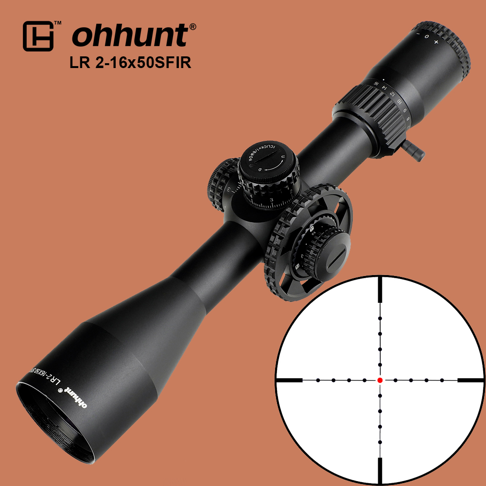 Ohhunt LR 2-16x50 SFIR Tactical Riflescope Mil-dot Red Illuminated Optical Sights Side Parallax Turret Lock Zero Reset Scope