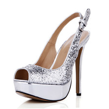CHMILE CHAU Silver Glitter Sexy Party Shoe Women Peep Toe Stiletto High Heel Slingback Platform Lady Pumps Zapatos Mujer 3463B-v(China)