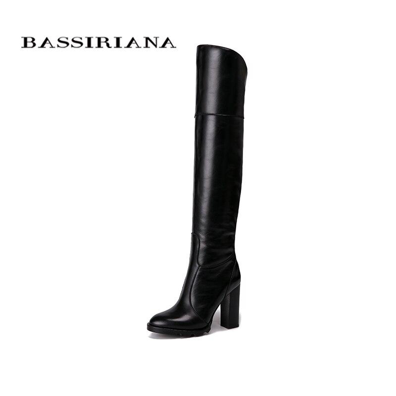 BASSIRIANA Over-The-ginocchio Del cuoio Genuino tacchi alti stivali delle donne di inverno scarpe da donna Nero vino rosso Zip size 35-40