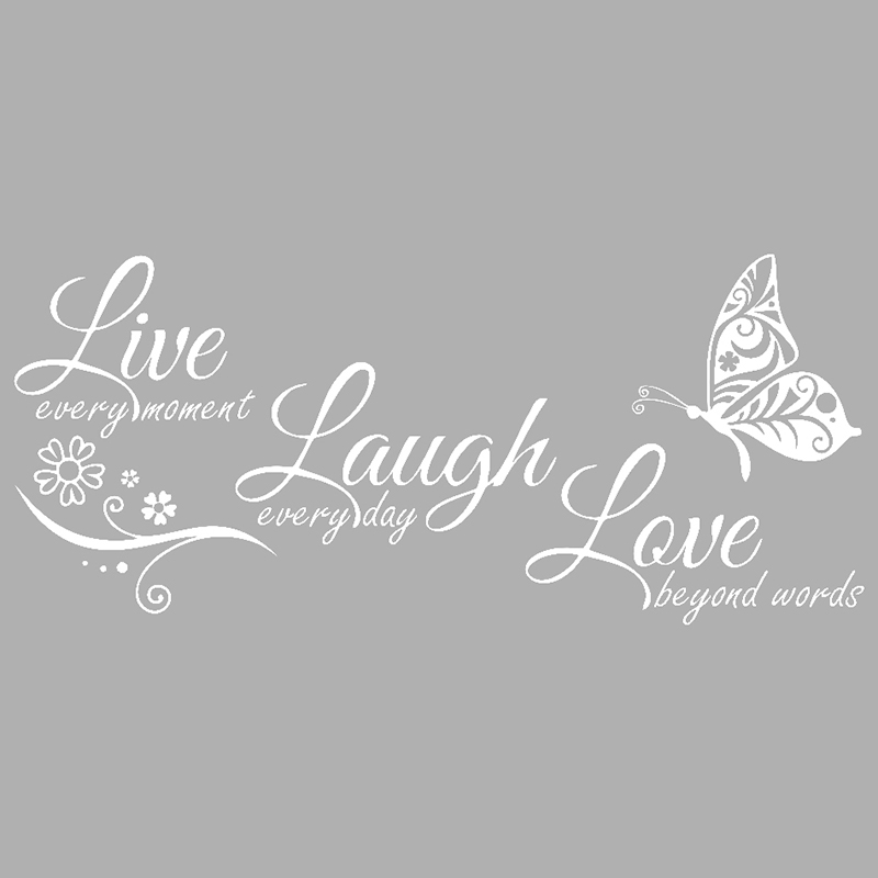 Live Laugh Love Butterfly Flower Modern Wall Decal-Free Shipping