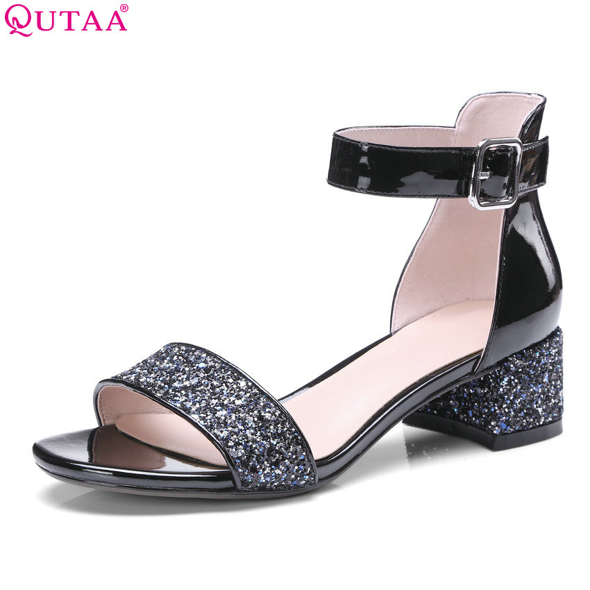 QUTAA 2018 Women Sandals Genuine Leather+ Pu Square Heel All Match Black Casual Women Shoes Peep Toe Women Sandals Size 34-42 2017 new summer fashion women casual shoes genuine leather lady leisure sandals gladiator all match ankle peep toe flowers