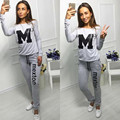 Casual sweat suits women fashion letter printing sweatshirt and long pants set two piece set velour tracksuit women winter suit