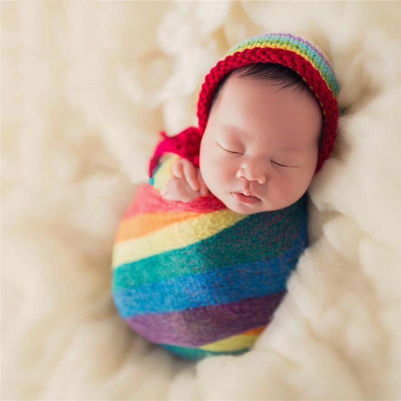 Newborn Photography Props Rainbow Baby 40X150cm Pure ...