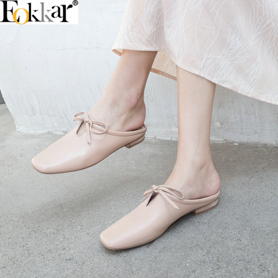 Eokkar 2019 Women Low Heels Mules Pumps Square Toe Slip On Women Pumps Summer Casual Shoes