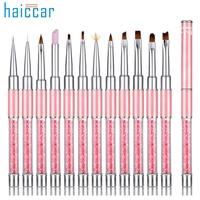 Güzel Kadın Sıcak Profesyonel 12 adet UV Jel Tırnak Boyama Çizim Fransız İpuçları Manikür Kalem Fırça Tasarım DX28