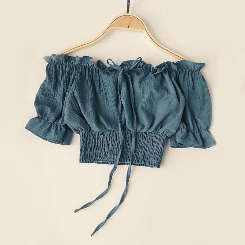 Chiffon blouse shirt femme summer casual slash neck ruffle womens white blouse elegant off shoulder fashion women blouse 2018