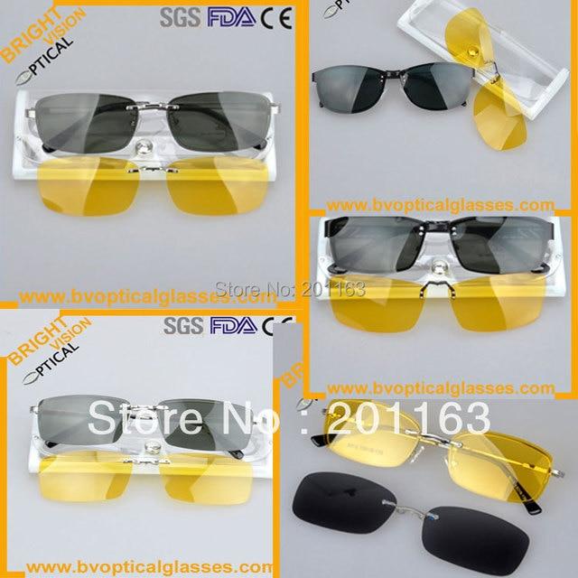 Precio bajo de la venta al por mayor mezclada clip on gafas de sol 5 unids/lote con conducción nocturna clip on sombrilla