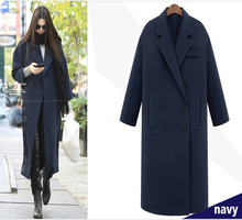 Fashion Women's Winter Ultra Long Woolen Jacket, Classic Double Breasted Wool Jacket