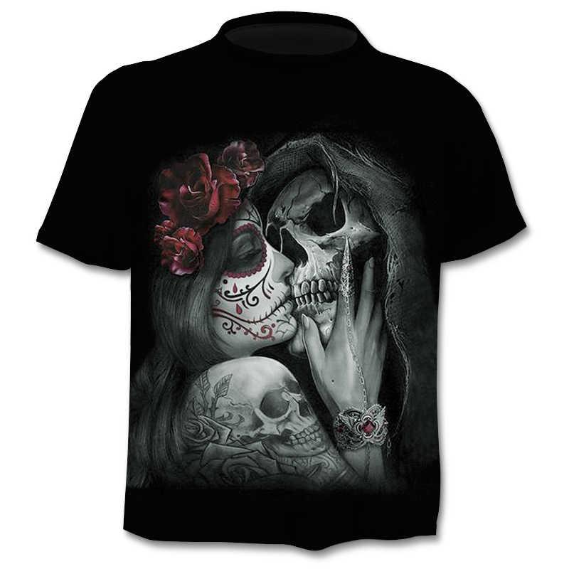 2019 barretta Del Cranio mens t-shirt di Marca di stile punk 3Dt-shirt Uomini Magliette e camicette Hip hop 3d stampa del cranio punisher t-shirt dropshipping