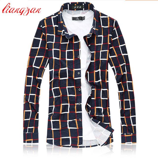 Hombres 100% Algodón Mercerizado Camisas de Marca Más El Tamaño 5XL 6XL 7XL Slim Fit Otoño Transpirable de Manga larga A Cuadros Camisas de Vestir F2301