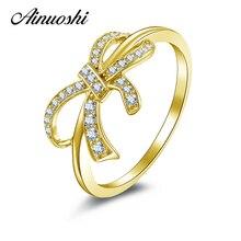 AINUOSHI 10 K anillo de oro amarillo sólido Sona diamante simulado joyería Joyeria Fina Bowknot forma del cumpleaños del Partido de las mujeres anillos