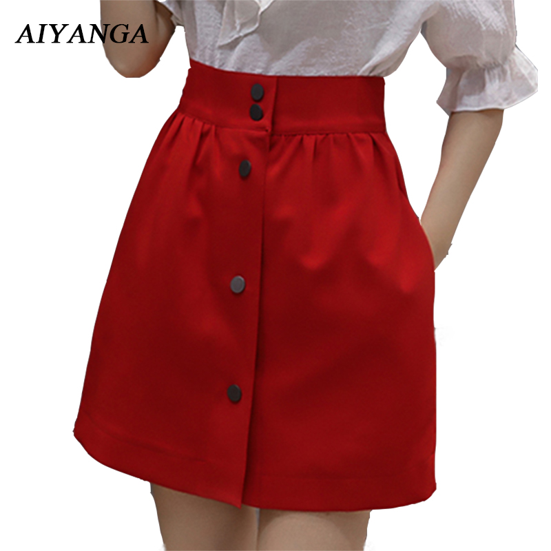 High Waist A-Line Skirts Women Elegant Office Ladies Summer 2018 Slim Solid White Skirts Red Black Short Skirt Single-breasted