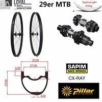 29er 33 мм ширина 29 мм Высота hookless mtb углерода колесная 29 дюймов углерода горный велосипед колеса с MTB DT350 концентратора