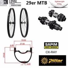 29er 33 мм ширина 29 мм Высота hookless ось велосипедная из углеволокна 29 дюймов Углеродные колеса для горных велосипедов с концентратором MTB DT350