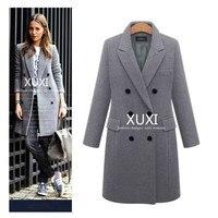 Женское осенне-зимнее пальто XUXI, повседневные шерстяные однотонные куртки, блейзеры, женское элегантное двубортное длинное пальто, Дамский...